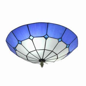 Plafonnier en verre tiffany D 40 cm luminaire pour salon cuisine chambre