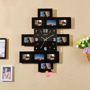 Horloge murale avec cadre de photo 2 modèles pour chambre salle style moderne simple