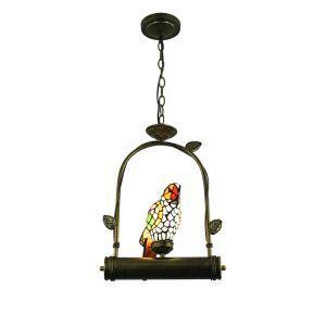 Suspension tiffany en verre D32cm perroquet pour chambre salon cuisine