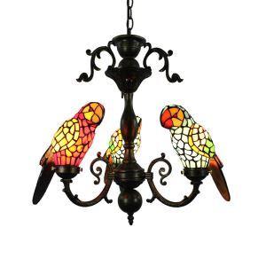 Suspension tiffany en verre 3 lampes D57cm perroquet pour chambre salon cuisine