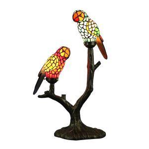 Lampe à poser tiffany en verre 2 lampes D50cm perroquet pour chambre salon cuisine
