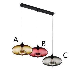 Lustre à 3 lampes suspension en verre moderne luminaire bulle pour cuisine bar restaurant