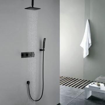 Robinet de douche avec douchette noir en cuivre pour salle de bain 5 ...
