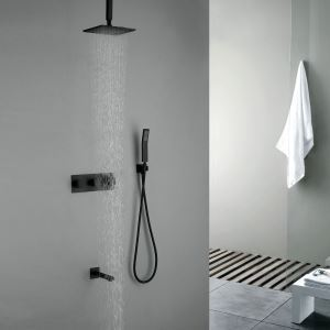 Robinet de douche avec douchette noir en cuivre pour salle de bain 6 trous