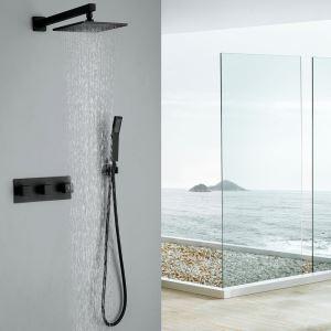 Robinet de douche avec douchette noir en cuivre pour salle de bain 5 trous
