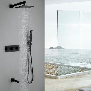Colonne de douche encastrée avec douchette en cuivre noir pour salle de bain 6 trous