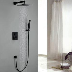 Robinet de douche avec douchette noir en cuivre pour salle de bain