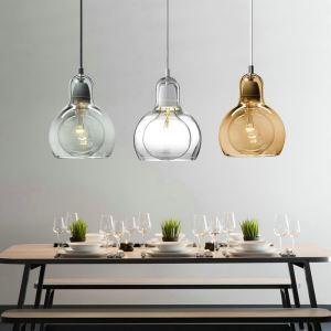Lustre à 3 lampes en verre courgette design pour salle cuisine