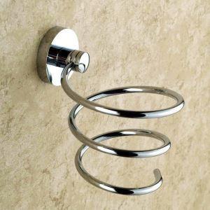 Porte de sèche-cheveux en cuivre chromé pour salle de bain