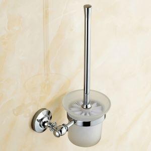 Porte de brosse à toilettes en cuivre chromé pour salle de bain