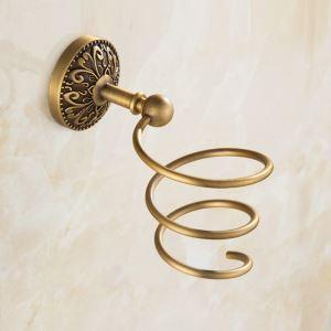 Porte de sèche-cheveux en cuivre étirage pour salle de bain rétro