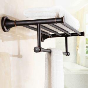 Porte de serviette en cuivre noire ORB pour salle de bain antique