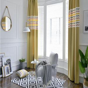 Rideau occulant jaune brodé flot pour salon simple style américain