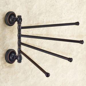 Barre porte de serviette en cuivre noire 4 barres pouvoir tourner ORB pour salle de bain antique