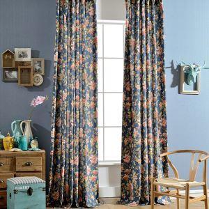 Afficher les détails pour Rideau bleu fleur grande pour chambre à coucher style de village américain