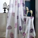 Voilage violette imprimé feuille de lotus pour chambre à coucher simple moderne