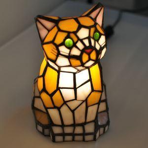 Lampe de table chat tiffany pour chambre à coucher chevet style antique