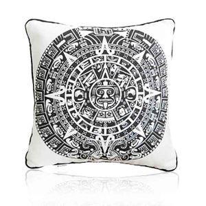 Housse de coussin en velours pierre calendrier solaire 45 x 45 cm pour canapé sofa