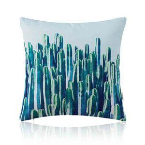Housse de coussin cactus imprimé en coton 45 x 45 cm pour canapé sofa