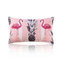 Housse de coussin en coton flamant 30 x 50 cm style forêt tropicale pour canapé sofa