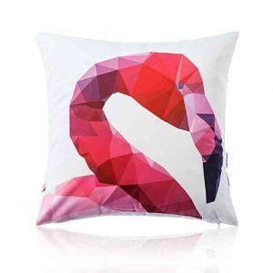 Housse de coussin en coton flamant 45 x 45 cm pour canapé sofa
