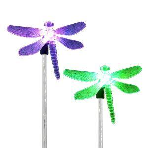 2 Lumières de cour d'énergie solaire coloré en ABS L9cm libellule pour extérieur