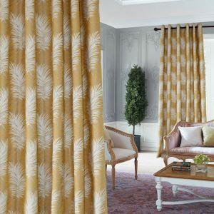 Rideau occulant d'isolation thermique jacquard aiguille jaune moderne