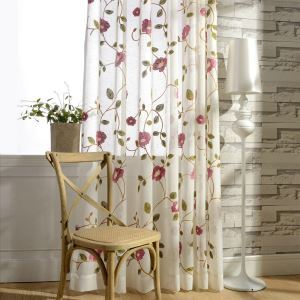 Voilage en lin respirant brodé fleur rose feuille verte simple moderne