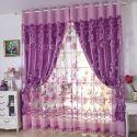 Voilage jacquard violette pour chambre à coucher style de village rétro