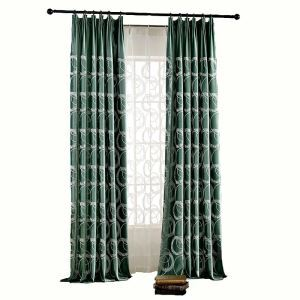 Rideau en pilou vert brodé pour salon chambre à coucher simple moderne