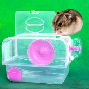 Cage de hamster rouge transparent