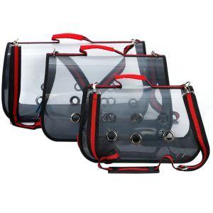 Sac de transport rouge transparent respirant S 53 cm pour chat chien