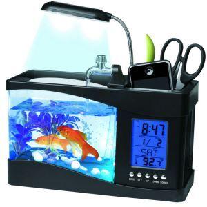 Mini réservoir pour poissons noir USB LCD bureau