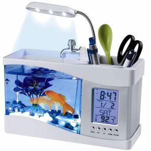 Mini réservoir pour poissons blanc USB LCD bureau