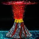 Ornement d'aquarium volcan pierre d'aménagement avec 7 couleurs LED lampes de plongée