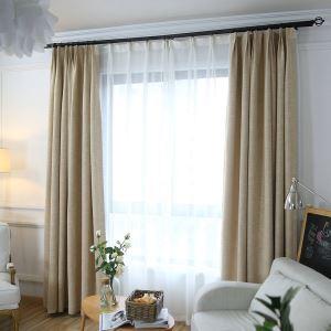 Rideau occultant en lin couleur pure pour chambre à coucher salon