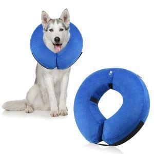 Manchou de cou pneumatique bleu doux pour chien arrêter lécher plaie M:27*27cm