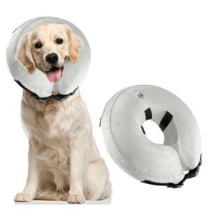 Manchou de cou pneumatique gris doux pour chien arrêter lécher plaie M:27*27cm