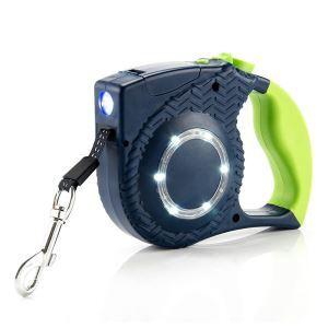 Laisse de chien rétractable LED bleue rayure