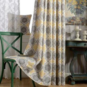 Rideau tamisant imprimé en coton lin jaune écologique pour chambre à coucher salon classique