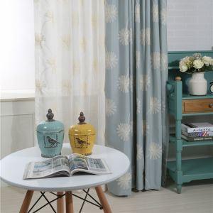 Rideau occultant brodé en coton écologique bleu pissenlit pour chambre à coucher salon simple japonais