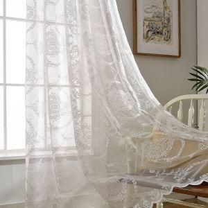 Voilage jacquard magnifique blanc pour chambre à coucher salon simple