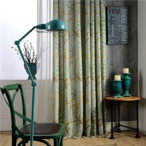 Rideau tamisant isolant imprimé en coton écologique feuille verte pour chambre à coucher
