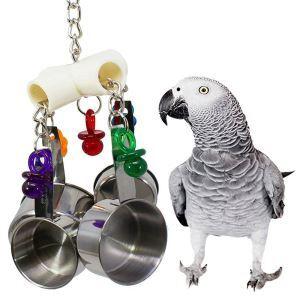 Jouet mordillant en acier inoxydable pour animaux de compagnie perroquet