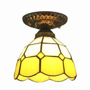 Plafonnier en verre tiffany D 20 cm luminaire pour salon cuisine chambre