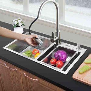 Evier à encastrer en acier inoxydable 304, 2 bacs manuels à 1.2mm d'épaisseur avec panier de vidage et distributeur de savon pour cuisine