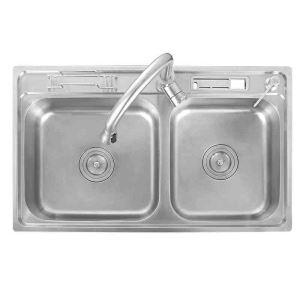 Moderne évier à encastrer en acier inoxydable 304, 2 bacs simple avec plateau de vidange, étagère de vidage,distributeur de savon pour cuisine