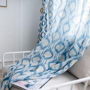 Voilage imprimé bleu diamant abstrait pour chambre à coucher salon