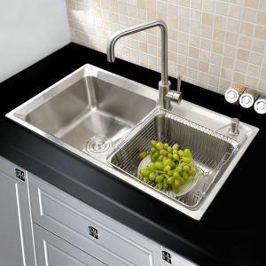 Évier de cuisine en acier inoxydable évier sous-sol argent