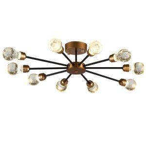 Plafonnier cristal bulle à 10 lampes rétro D 88 cm design pour restaurant salle bar
